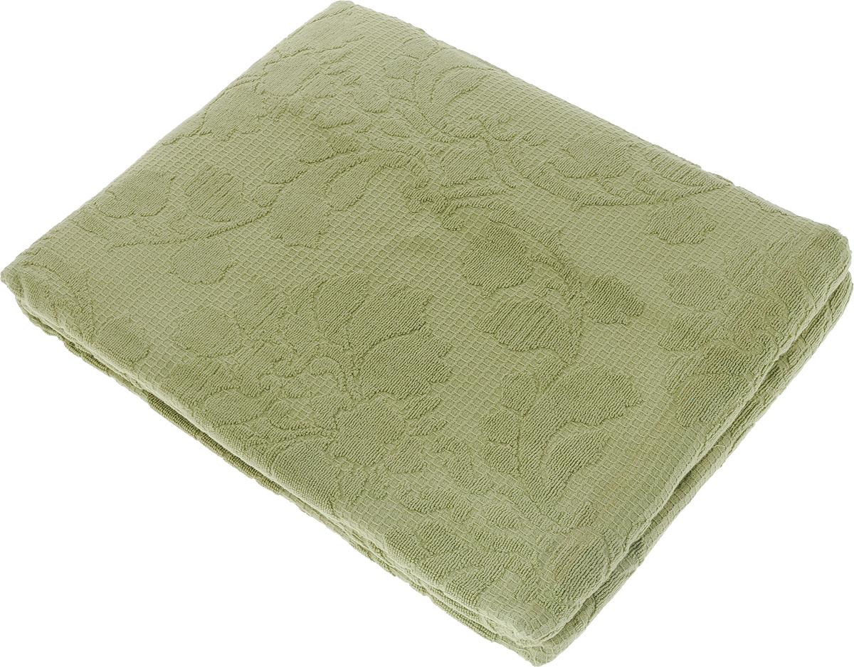 Покрывало махровое Toalla, цвет: серо-зеленый, 160 x 200 смWUB 5647 weisМахровое покрывало Toalla выполнено из 100% хлопка и оформлено рельефным цветочным принтом. Ткань покрывала обладает высокой плотностью и мягкостью, отличается высоким качеством и длительным сроком службы. Египетский хлопок не содержит линта (хлопковый пух), поэтому на ткани не образуются катышки даже после многократных стирок и длительного использования. Такое покрывало гармонично впишется в интерьер вашего дома и создаст атмосферу уюта и комфорта.