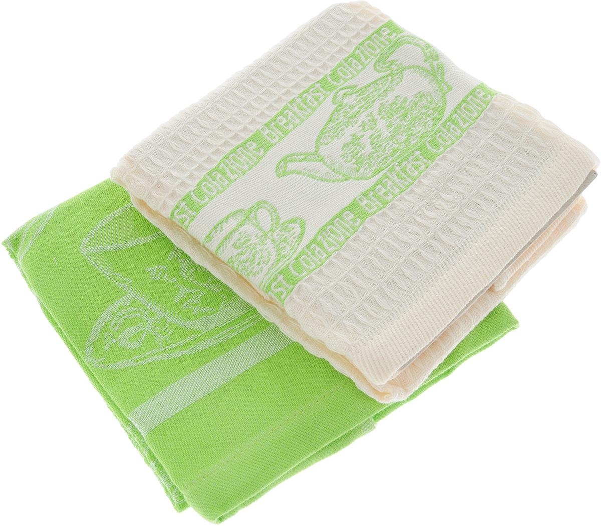 Набор кухонных полотенец Toalla Завтрак, цвет: зеленый, бежевый, 40 x 60 см, 2 штVT-1520(SR)Набор Toalla Завтрак состоит из двух прямоугольных полотенец, выполненных из 100% хлопка. Ткань полотенец обладает высокой плотностью и мягкостью, отличается высоким качеством и длительным сроком службы. В процессе эксплуатации материал становится только мягче и приятней на ощупь. Египетский хлопок не содержит линта (хлопковый пух), поэтому на ткани не образуются катышки даже после многократных стирок и длительного использования. Сверхдлинные волокна придают ткани характерный красивый блеск. Полотенца отлично впитывают влагу и быстро сохнут. Набор предназначен для использования на кухне и в столовой. Полотенца дополнены изящным вышитым бордюром.Набор полотенец Toalla Завтрак - отличное приобретение для каждой хозяйки.