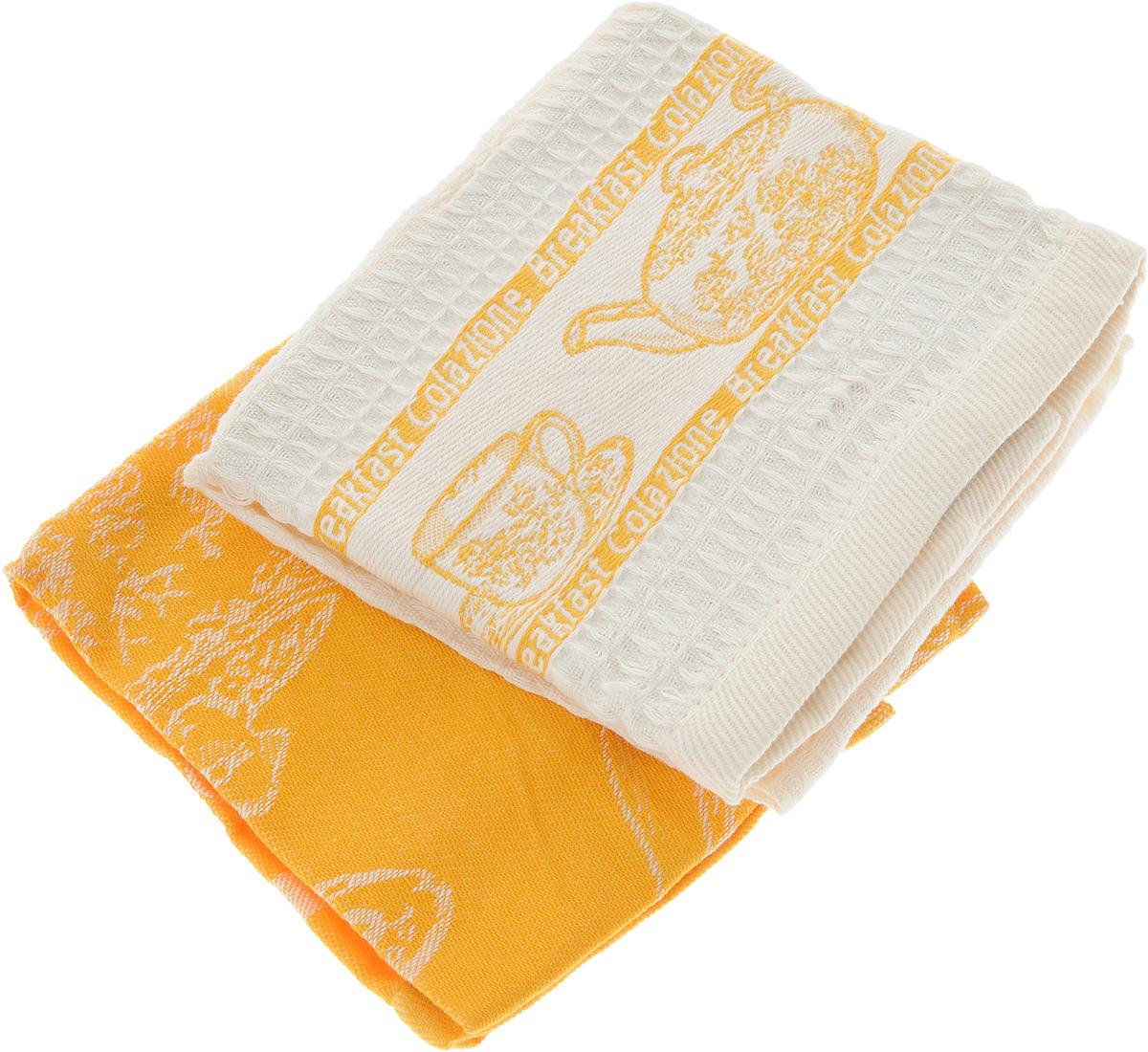 Набор кухонных полотенец Toalla Завтрак, цвет: оранжевый, бежевый, 40 x 60 см, 2 шт4630003364517Набор Toalla Завтрак состоит из двух прямоугольных полотенец, выполненных из 100% хлопка. Ткань полотенец обладает высокой плотностью и мягкостью, отличается высоким качеством и длительным сроком службы. В процессе эксплуатации материал становится только мягче и приятней на ощупь. Египетский хлопок не содержит линта (хлопковый пух), поэтому на ткани не образуются катышки даже после многократных стирок и длительного использования. Сверхдлинные волокна придают ткани характерный красивый блеск. Полотенца отлично впитывают влагу и быстро сохнут. Набор предназначен для использования на кухне и в столовой. Полотенца дополнены изящным вышитым бордюром.Набор полотенец Toalla Завтрак - отличное приобретение для каждой хозяйки.