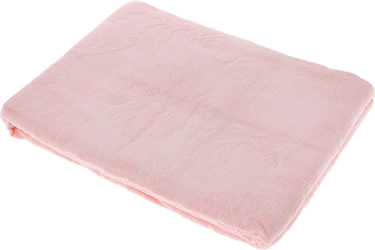 Покрывало махровое Toalla, цвет: розовый, 200 x 220 см1004900000360Махровое покрывало Toalla выполнено из 100% хлопка и оформлено рельефным цветочным принтом. Ткань покрывала обладает высокой плотностью и мягкостью, отличается высоким качеством и длительным сроком службы. Египетский хлопок не содержит линта (хлопковый пух), поэтому на ткани не образуются катышки даже после многократных стирок и длительного использования. Такое покрывало гармонично впишется в интерьер вашего дома и создаст атмосферу уюта и комфорта.