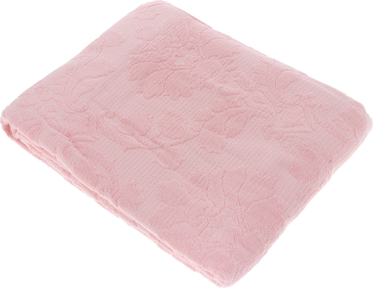 Покрывало махровое Toalla, цвет: розовый, 160 x 200 см391602Махровое покрывало Toalla выполнено из 100% хлопка и оформлено рельефным цветочным принтом. Ткань покрывала обладает высокой плотностью и мягкостью, отличается высоким качеством и длительным сроком службы. Египетский хлопок не содержит линта (хлопковый пух), поэтому на ткани не образуются катышки даже после многократных стирок и длительного использования. Такое покрывало гармонично впишется в интерьер вашего дома и создаст атмосферу уюта и комфорта.