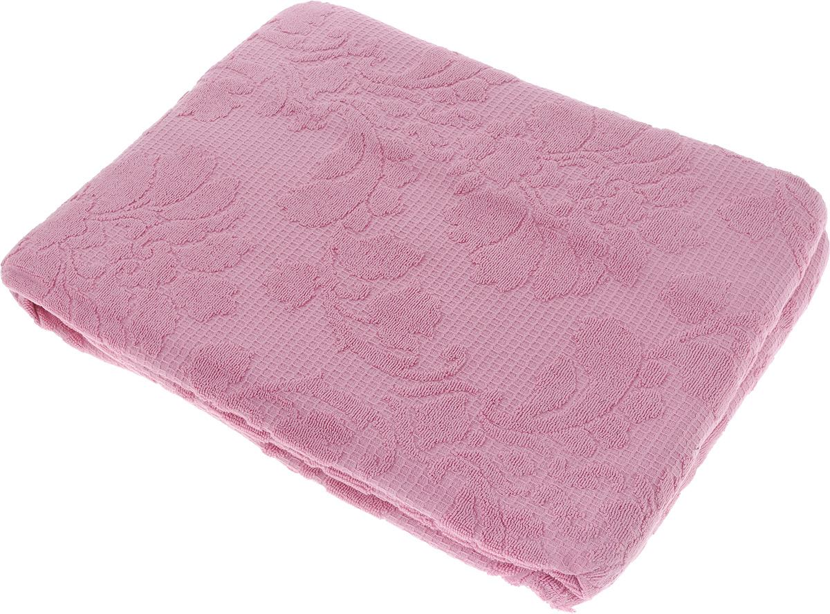 Покрывало махровое Toalla, цвет: темно-розовый, 160 x 200 см1004900000360Махровое покрывало Toalla выполнено из 100% хлопка и оформлено рельефным цветочным принтом. Ткань покрывала обладает высокой плотностью и мягкостью, отличается высоким качеством и длительным сроком службы. Египетский хлопок не содержит линта (хлопковый пух), поэтому на ткани не образуются катышки даже после многократных стирок и длительного использования. Такое покрывало гармонично впишется в интерьер вашего дома и создаст атмосферу уюта и комфорта.