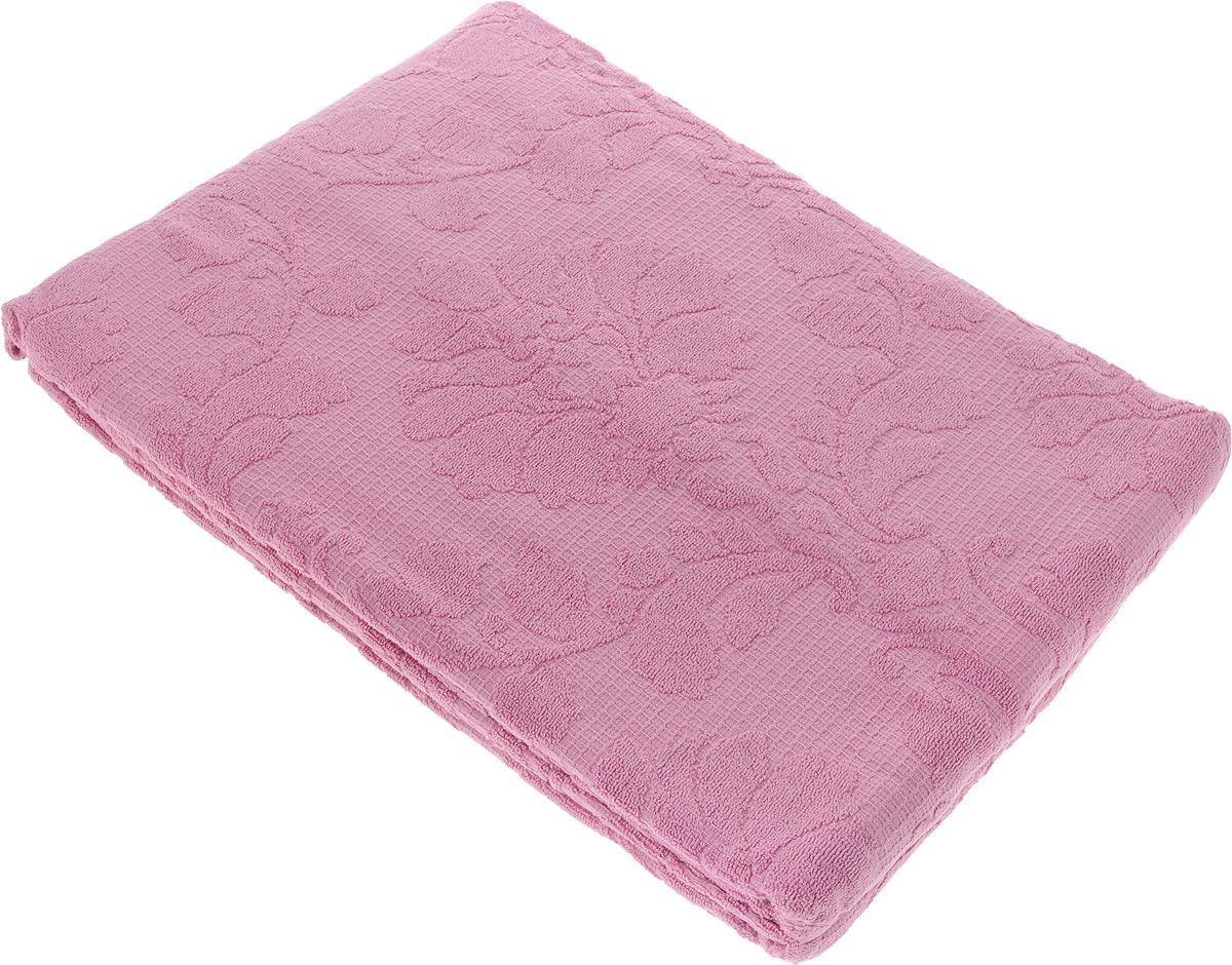 Покрывало махровое Toalla, цвет: темно-розовый, 200 x 220 смES-412Махровое покрывало Toalla выполнено из 100% хлопка и оформлено рельефным цветочным принтом. Ткань покрывала обладает высокой плотностью и мягкостью, отличается высоким качеством и длительным сроком службы. Египетский хлопок не содержит линта (хлопковый пух), поэтому на ткани не образуются катышки даже после многократных стирок и длительного использования. Такое покрывало гармонично впишется в интерьер вашего дома и создаст атмосферу уюта и комфорта.