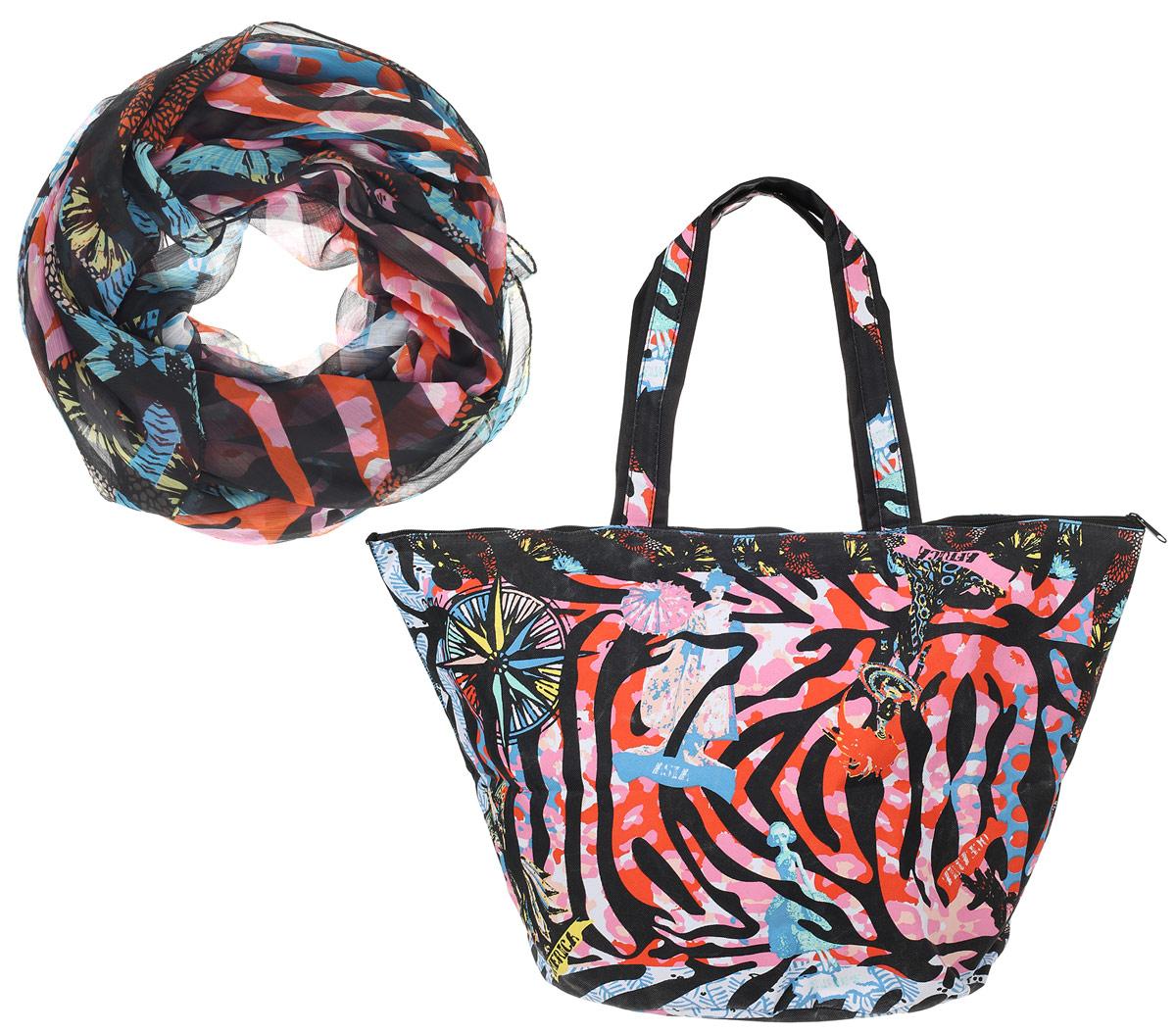 Сумка пляжная Venera , цвет: черный, красный, белый, голубой + парео. 5500256-1/14106черныеЯркий комплект из парео и сумки. Практичная, вместительная сумка из полиэстра, великолепный летний вариант. В комплект входит парео, большой размер которого позволяет завязать его разными способами.