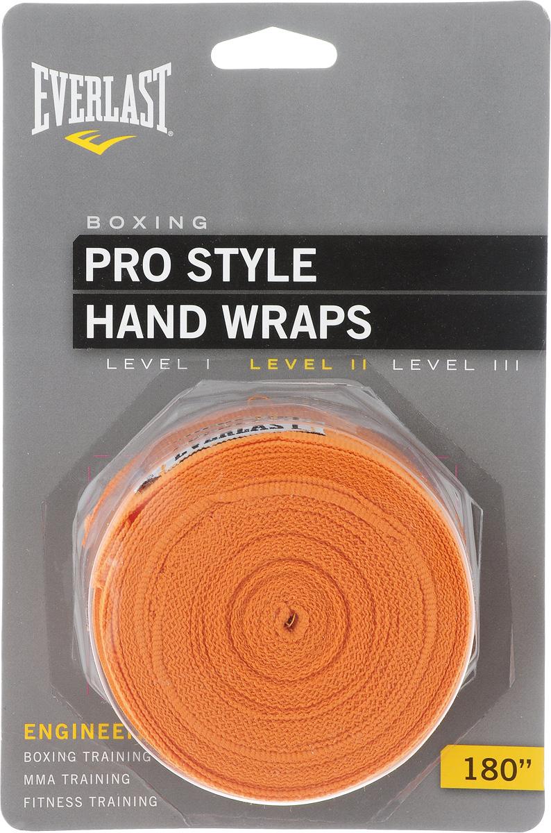 Бинт боксерский Everlast Pro style, эластичный, цвет: оранжевый, длина 4,55 м, 2 шт4455PUЭластичный бинт Everlast Pro style обеспечивает высокую степень комфорта и безопасности во время тренировок. Материал прекрасно защищает костяшки пальцев, ладонь и запястье, и, в то же время, не препятствует доступу воздуха к коже, позволяя руке дышать. Бинт снабжен удобным креплением на большой палец и надежной застежкой на липучке. Изготовлен из современного эластичного материала, благодаря чему обладает высокой прочностью и износоустойчивостью. Подлежит машинной стирке.Длина одного бинта: 4,55 м.Ширина: 5 см.