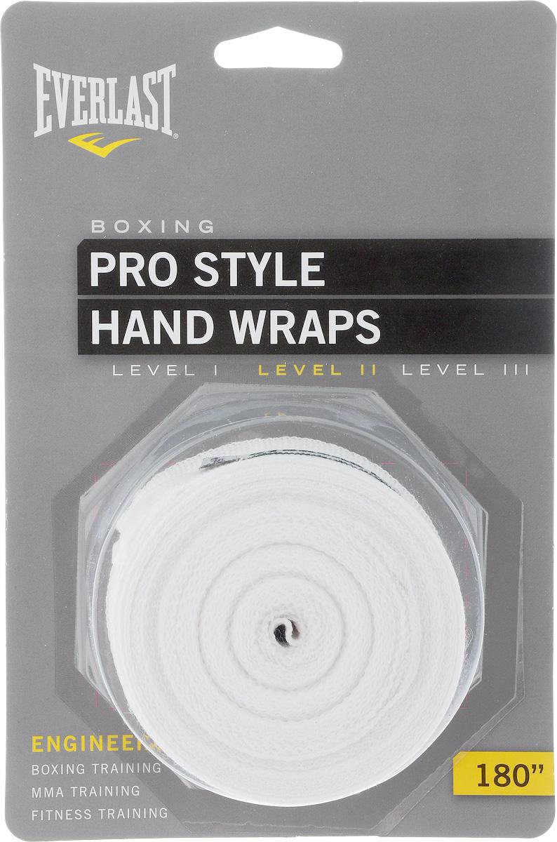 Бинт боксерский Everlast Pro style, эластичный, цвет: белый, длина 4,55 м, 2 шт4455PUЭластичный бинт Everlast Pro style обеспечивает высокую степень комфорта и безопасности во время тренировок. Материал прекрасно защищает костяшки пальцев, ладонь и запястье, и, в то же время, не препятствует доступу воздуха к коже, позволяя руке дышать. Бинт снабжен удобным креплением на большой палец и надежной застежкой на липучке. Изготовлен из современного эластичного материала, благодаря чему обладает высокой прочностью и износоустойчивостью. Подлежит машинной стирке.Длина одного бинта: 4,55 м.Ширина: 5 см.
