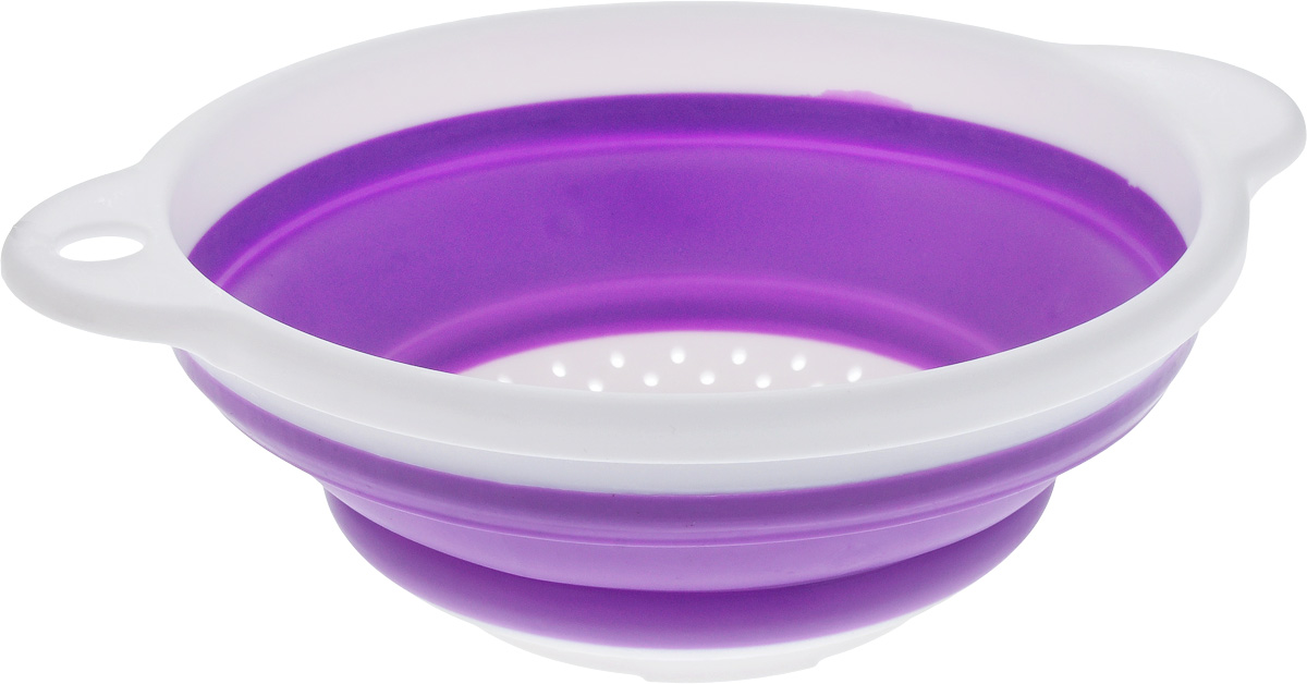 Дуршлаг Идея, складной, цвет: белый, сиреневый. CLD-0200736-437-00Дуршлаг складной Идея, изготовленный из высококачественного пищевого пластика и силикона, станет полезным приобретением для вашей кухни. Он идеально подходит для процеживания, ополаскивания макарон, овощей, фруктов. Нельзя мыть и сушить в посудомоечной машине.Внутренний диаметр: 18 см. Размер (в разложенном виде): 23 х 20 х 9 см.Размер (в сложенном виде): 23 х 20 х 3 см.
