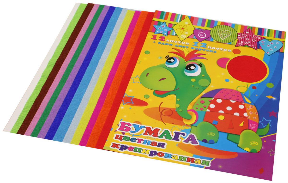 Феникс+ Цветная бумага крепированная 12 листов + лист картона0911241Набор цветной бумаги Феникс+ включает в себя 12 листов крепированной цветной бумаги формата А4 и один лист картона.Крепированная бумага, обладающая мелкоскладчатой поверхностью с повышенным удлинением до разрыва, предназначена для изготовления декоративного материала. Поделки из нее получаются аккуратными и изящными.