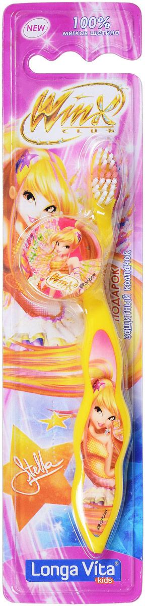Longa Vita Детская зубная щетка Winx, мягкая, цвет: желтый. с защитным колпачком, от 3-х лет14081Longa Vita Детская зубная щетка Winx, мягкая, цвет: желтый. с защитным колпачком, от 3-х лет