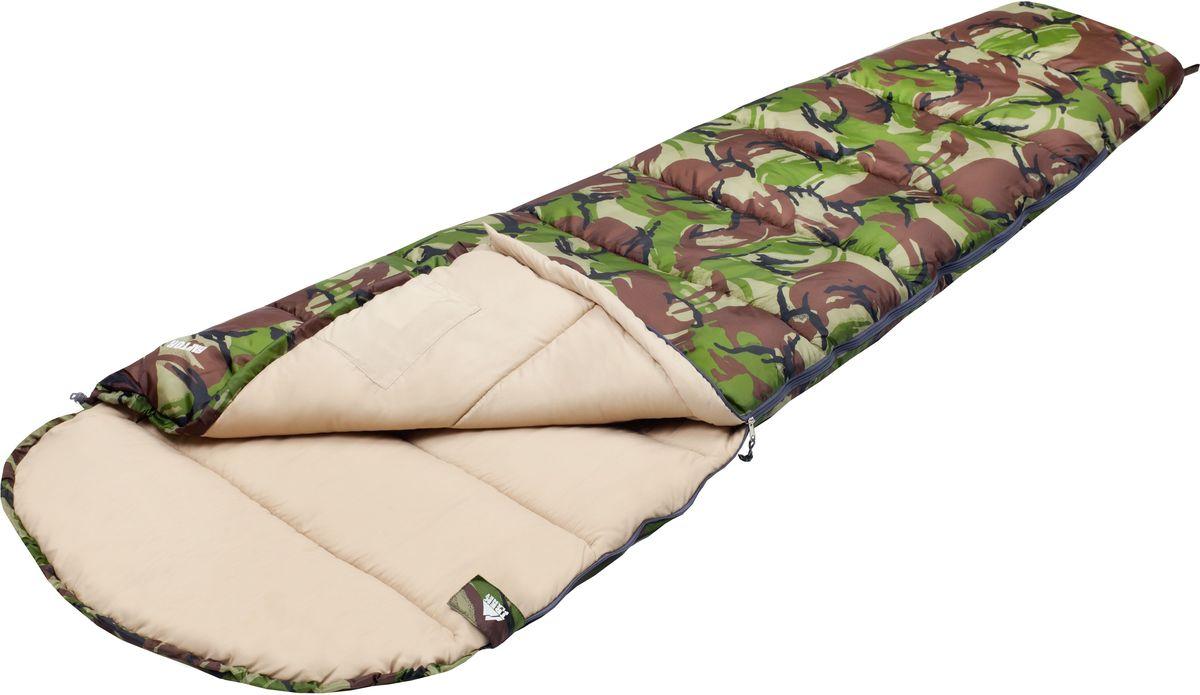 Спальный мешок TREK PLANET Raptor, цвет: камуфляж, левосторонняя молнияKOC2028LEDКомфортный, просторный, теплый и удобный спальник-кокон TREK PLANET Raptor в камуфляжном исполнении предназначен как для летних, так и для весенне-осенних поездок на природу. Идеально подойдет для людей, любящих походы, рыбалку, охоту или просто качественные камуфляжные вещи.ОСОБЕННОСТИ СПАЛЬНИКА:- Спальник-кокон в камуфляжном исполнении,- Удобный глубокий капюшон,- Затягивающаяся шнуровка по краю капюшона,- Молния с левой стороны,- Тепловой ворот,- Термоклапан вдоль молнии,- Внутренний карман,- Небольшой вес,- К спальнику прилагается чехол для удобного хранения и переноски.t° комфорт: 10°Ct° лимит комфорт: 6°Ct° экстрим: -5°C.Внешний материал: 100% полиэстер Внутренний материал: 100% полиэстерУтеплитель: Hollow Fiber 1 x 300 г/м2.Размер: 225 х 80(50) см.Размер в чехле: 23 х 23 х 36 см.Вес: 1,2 кг.