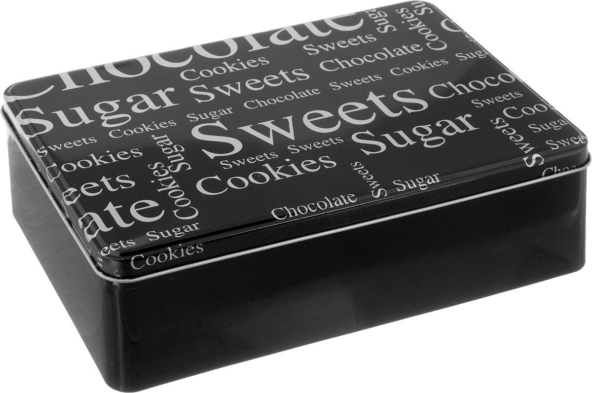 Коробка для чайных пакетиков Kesper, цвет: черный, 20 х 13 х 6,5 смVT-1520(SR)Коробка для хранения Kesper изготовлена из металла, крышка изделия декорирована надписями. Такая коробка подойдет для хранения чайных пакетиков и любых других бытовых мелочей. Она надежно защитит содержимое от пыли, влаги, грязи и насекомых. Удобная коробка для хранения станет прекрасным приобретением для кухни.Размер коробки: 20 х 13 х 6,5 см.