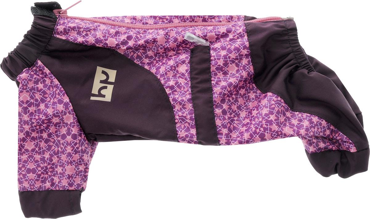 Комбинезон для собак Happy Puppy Звездочка, для девочки, цвет: фиолетовый, розовый. Размер 1 (S)0120710Комбинезон для собак Happy Puppy Звездочка отлично подойдет для прогулок.Комбинезон изготовлен из полиэстера, защищающего от ветра и осадков. Комбинезон застегивается на молнию и липучку, благодаря чему его легко надевать и снимать. Ворот, низ рукавов и брючин оснащены внутренними резинками, которые мягко обхватывают шею и лапки, не позволяя просачиваться холодному воздуху. На пояснице комбинезон затягивается на шнурок-кулиску.Благодаря такому комбинезону простуда не грозит вашему питомцу, и он не даст любимцу продрогнуть на прогулке.