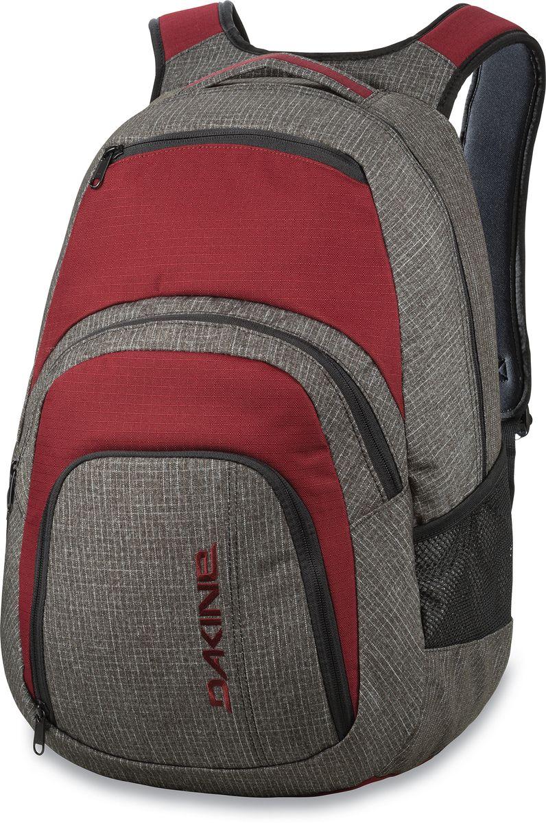 Рюкзак городской Dakine Campus, цвет: серый, бордовый, 33 лГризлиГородской рюкзак Dakine Campus выполнен из высококачественного полиэстера. Модель прекрасно подходит для активной жизни в городской черте.Особенности рюкзака: - есть специальный карман для ноутбука,- встроенный карман с термоизоляцией для еды и напитков,- карман-органайзер с отверстием для наушников, - флисовый карман для очков,- боковые карманы-сетки,- регулируемый нагрудный ремешок,- воздухопроницаемые наплечные ремни,- объемные складывающиеся карманы позволяют хранить отдельно вещи.