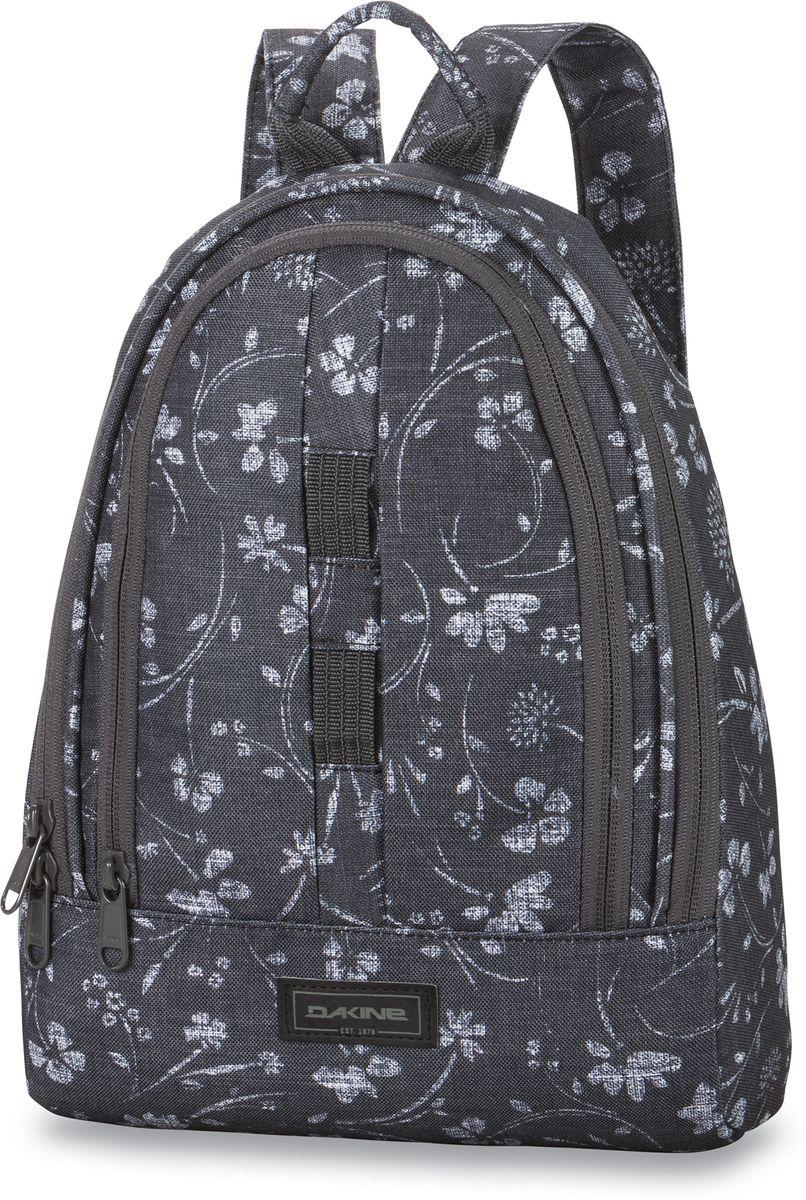 Рюкзак женский Dakine Cosmo, цвет: темно-серый, 6,5 лГризлиНебольшой городской женский рюкзак Dakine Cosmo - стильная и необходимая вещь в городе или поездке. В него влезет все необходимое - бутылка воды, книжка, косметичка, фотоаппарат. Небольшой, но емкий будет отлично выглядеть как с джинсами, так и с платьем. Помимо основного отделения имеет фронтальный карман-органайзер на молнии.Модель дополнена карабином для ключей и петлей для подвешивания ранца. Широкие плечевые лямки регулируются по длине.