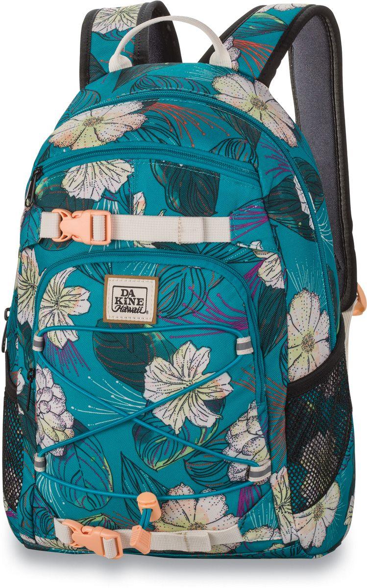 Рюкзак женский Dakine Grom, цвет: бирюзовый, 13 лГризлиРюкзак женский Dakine представляет собой небольшой городской рюкзак, который отлично подойдет для взрослых или детей. Объем 13 литров позволит разместить в основном отделении все самое необходимое. Имеется карман для очков или фотоаппарата, фронтальный карман, внешнее крепление для одежды или пледа. Передний карман на молнии. Карман для солнцезащитных очков с подкладкой из флиса. По бокам - карманы из сетчатого материала.