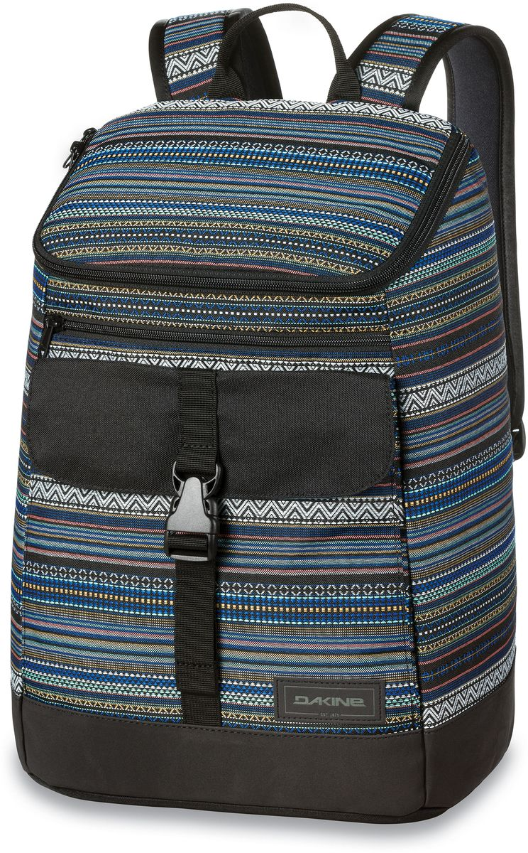 Рюкзак женский Dakine Nora, цвет: черный, мультиколор, 25 лГризлиРюкзак Dakine Nora выполнен из жесткого вторичного волокна, позволяющего переносить вещи в сохранности. Модель оснащена отделением для для 15-дюймового ноутбука и отделением на флисовой подкладке для планшета. Передняя стенка оснащена объемным карманом с клапаном, который застегивается на фастекс, и прорезным карманом на молнии. У рюкзака широкие плечевые лямки, регулируемые по длине.