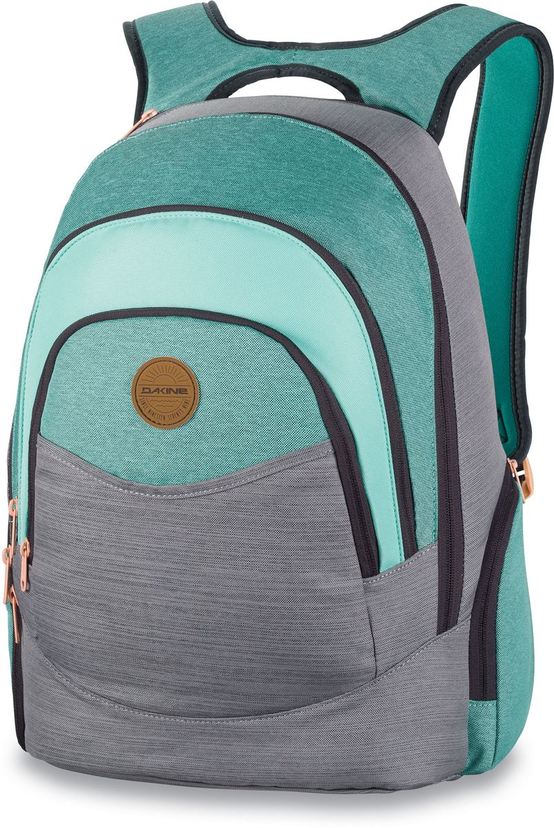 Рюкзак женский Dakine Prom, цвет: мятный, серый, 25 лГризлиРюкзак Dakine Prom – самый популярный женский городской рюкзак. Отлично подойдет для учебы, работы, отдыха и спорта.Имеет усиленный карман для ноутбука в основном отделении, карман-органайзер, вкотором вы с легкостью сможете найти в нем сотовый телефон, MP3-плеер или ручку, карман для очков с флисовой подкладкой.В кармане-кулере можно сохранить фрукты, напитки или завтрак холодными и свежими в течение всего дня. По бокам расположены карманы на молнии, один из которых подходит для напитков.Изделие оснащено усиленным отделением для ноутбука на молнии, который подходит для моделей, имеющих диагональ экрана 15.