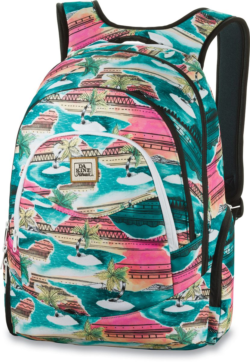 Рюкзак женский Dakine Prom, цвет: бирюзовый, мультицвет, 25 л00127209 8210025Рюкзак Dakine Prom - самый популярный женский городской рюкзак. Отлично подойдет для учебы, работы, отдыха и спорта.Имеет усиленный карман для ноутбука в основном отделении, карман-органайзер, вкотором вы с легкостью сможете найти в нем сотовый телефон, MP3-плеер или ручку, карман для очков с флисовой подкладкой.В кармане-кулере можно сохранить фрукты, напитки или завтрак холодными и свежими в течение всего дня. По бокам расположены карманы на молнии, один из которых подходит для напитков.Изделие оснащено усиленным отделением для ноутбука на молнии, который подходит для моделей, имеющих диагональ экрана 15.
