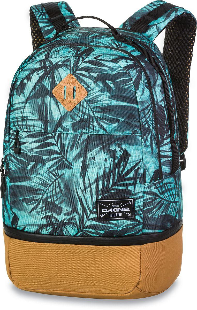 Рюкзак городской Dakine Interval Wet/Dry, цвет: бирюзовый, черный, 24 лRivaCase 8460 aquamarineОбновленная версия суперпопулярной модели Interval выполнена из полиэстера. Теперь нижний отдел представляет собой влагонепроницаемый отсек для мокрого гидрокостюма. Идеальный рюкзак для фитнеса.Модель имеет карман для гидрокостюма и термоотсек, брезентовый карман для воска, карман-органайзер и карман для солнцезащитных очков. Регулируемый нагрудный ремень и плечевые лямки.