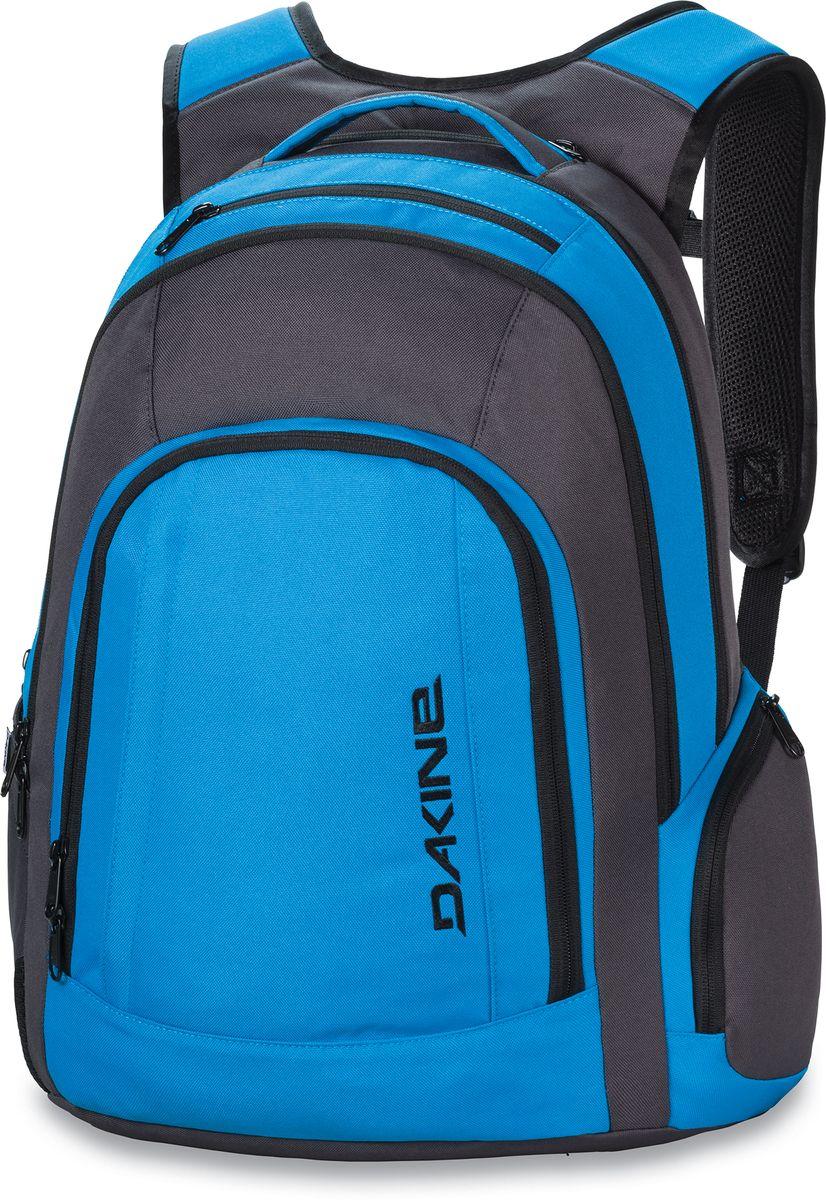 Рюкзак городской Dakine 101, цвет: синий, черный, 29 лMABLSEH10001Рюкзак Dakine 101 - это настоящий офис за спиной. Выполнен из высококачественного прочного полиэстера. Данная ммодель рюкзака в первую очередь предназначена для тех, кто уже не представляет свою жизнь без кучи любимых гаджетов.Особенности рюкзака:Отдельный карман для ноутбука с защитой от ударов вмещает большинство 15 моделей.Карман для iPad с флисовой подкладкой.Лямки и спинка выполнены из дышащего материала DriMesh.В спинке рюкзака потайной карман для документов.Карман-органайзер, карман для очков с флисом.Регулируемая грудная перемычка.Боковой карман для бутылки.