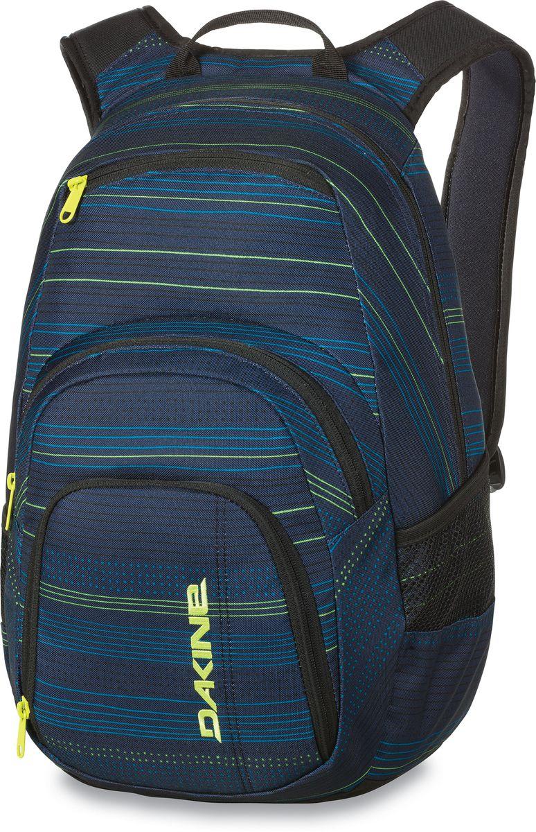 Рюкзак городской Dakine Campus, цвет: темно-синий, мультиколор, 25 лZ90 blackГородской рюкзак Dakine Campus выполнен из высококачественного полиэстера. Модель прекрасно подходит для активной жизни в городской черте.Особенности рюкзака: - есть специальный карман для ноутбука,- встроенный карман с термоизоляцией для еды и напитков,- карман-органайзер с отверстием для наушников, - флисовый карман для очков,- боковые карманы-сетки,- регулируемый нагрудный ремешок,- воздухопроницаемые наплечные ремни,- объемные складывающиеся карманы позволяют хранить отдельно вещи.