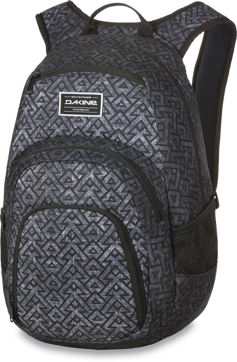 Рюкзак городской Dakine Campus, цвет: темно-серый, серый, 25 л1125040Городской рюкзак Dakine Campus выполнен из высококачественного полиэстера. Модель прекрасно подходит для активной жизни в городской черте.Особенности рюкзака: - есть специальный карман для ноутбука,- встроенный карман с термоизоляцией для еды и напитков,- карман-органайзер с отверстием для наушников, - флисовый карман для очков,- боковые карманы-сетки,- регулируемый нагрудный ремешок,- воздухопроницаемые наплечные ремни,- объемные складывающиеся карманы позволяют хранить отдельно вещи.