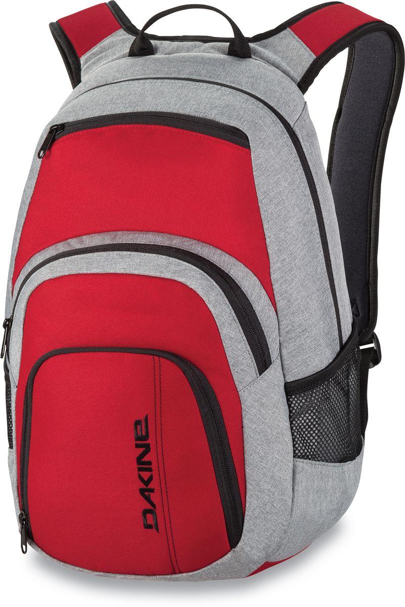 Рюкзак городской Dakine Campus, цвет: красный, серый, 25 л00127042 8130056Городской рюкзак Dakine Campus выполнен из высококачественного полиэстера. Модель прекрасно подходит для активной жизни в городской черте.Особенности рюкзака: - есть специальный карман для ноутбука,- встроенный карман с термоизоляцией для еды и напитков,- карман-органайзер с отверстием для наушников, - флисовый карман для очков,- боковые карманы-сетки,- регулируемый нагрудный ремешок,- воздухопроницаемые наплечные ремни,- объемные складывающиеся карманы позволяют хранить отдельно вещи.