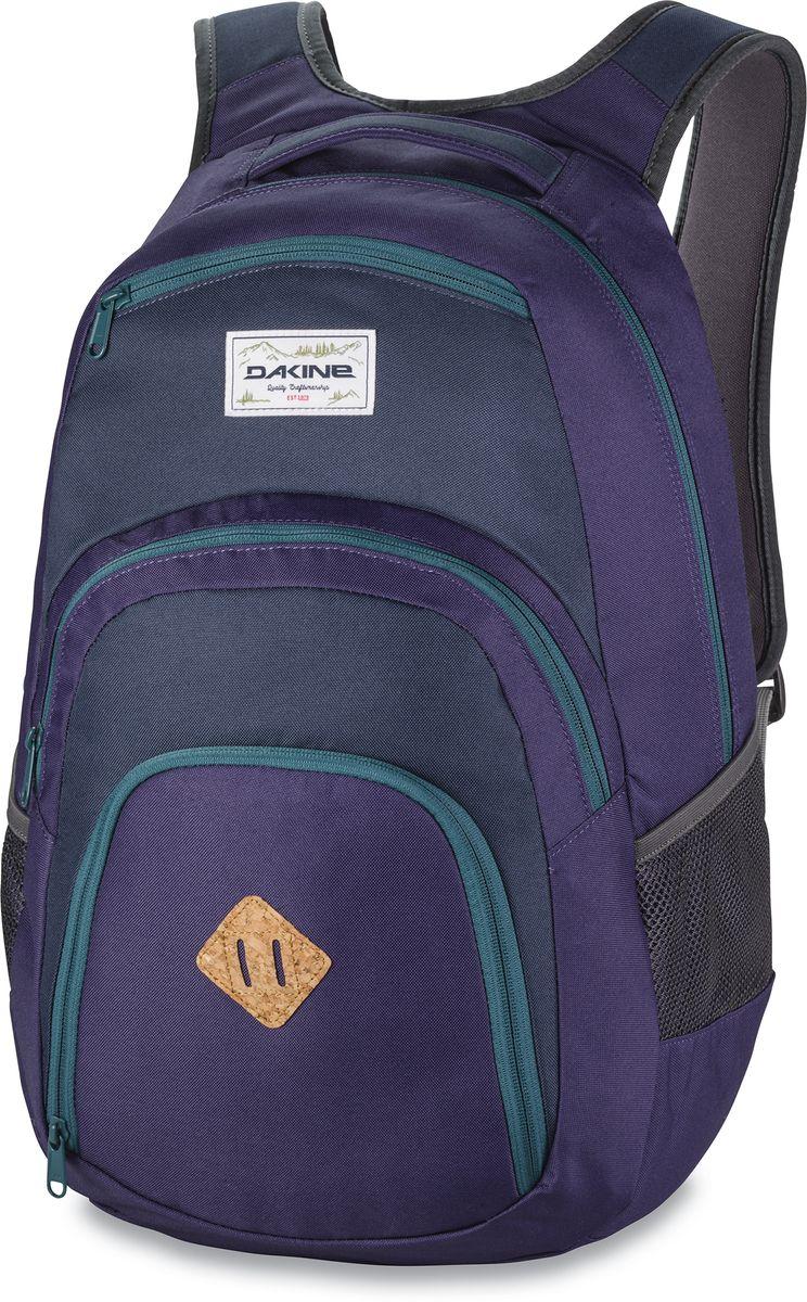 Рюкзак городской Dakine Campus, цвет: фиолетовый, темно-синий, 33 л00127030 8130057Городской рюкзак Dakine Campus выполнен из высококачественного полиэстера. Модель прекрасно подходит для активной жизни в городской черте.Особенности рюкзака: - есть специальный карман для ноутбука,- встроенный карман с термоизоляцией для еды и напитков,- карман-органайзер с отверстием для наушников, - флисовый карман для очков,- боковые карманы-сетки,- регулируемый нагрудный ремешок,- воздухопроницаемые наплечные ремни,- объемные складывающиеся карманы позволяют хранить отдельно вещи.
