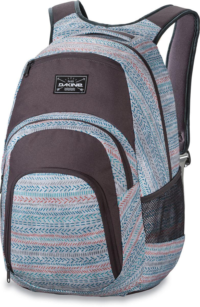 Рюкзак городской Dakine Campus, цвет: серый, мультиколор, 33 л00127037 8130057Городской рюкзак Dakine Campus выполнен из высококачественного полиэстера. Модель прекрасно подходит для активной жизни в городской черте.Особенности рюкзака: - есть специальный карман для ноутбука,- встроенный карман с термоизоляцией для еды и напитков,- карман-органайзер с отверстием для наушников, - флисовый карман для очков,- боковые карманы-сетки,- регулируемый нагрудный ремешок,- воздухопроницаемые наплечные ремни,- объемные складывающиеся карманы позволяют хранить отдельно вещи.