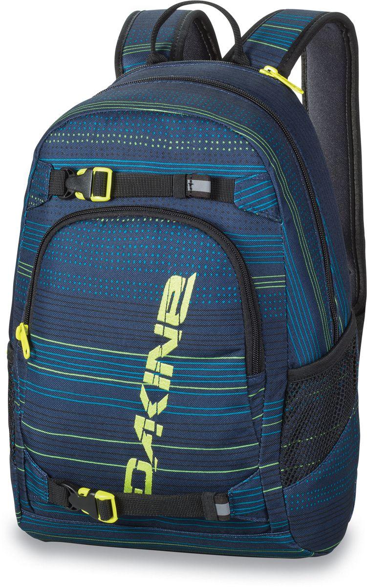 Рюкзак городской Dakine Grom, цвет: темно-синий, 13 л00127078 8130105Городской рюкзак Dakine Grom выполнен из полиэстера. Основным достоинством является удобная система крепления скейтборда. Модель с одним отделением застегивается на молнию. Имеет карман для солнцезащитных очков на флисовой подкладке, удобные регулируемые лямки с нагрудным регулируемым ремнем-фиксатором, боковые сетчатые карманы на резинках и удобную эргономичную спинку.