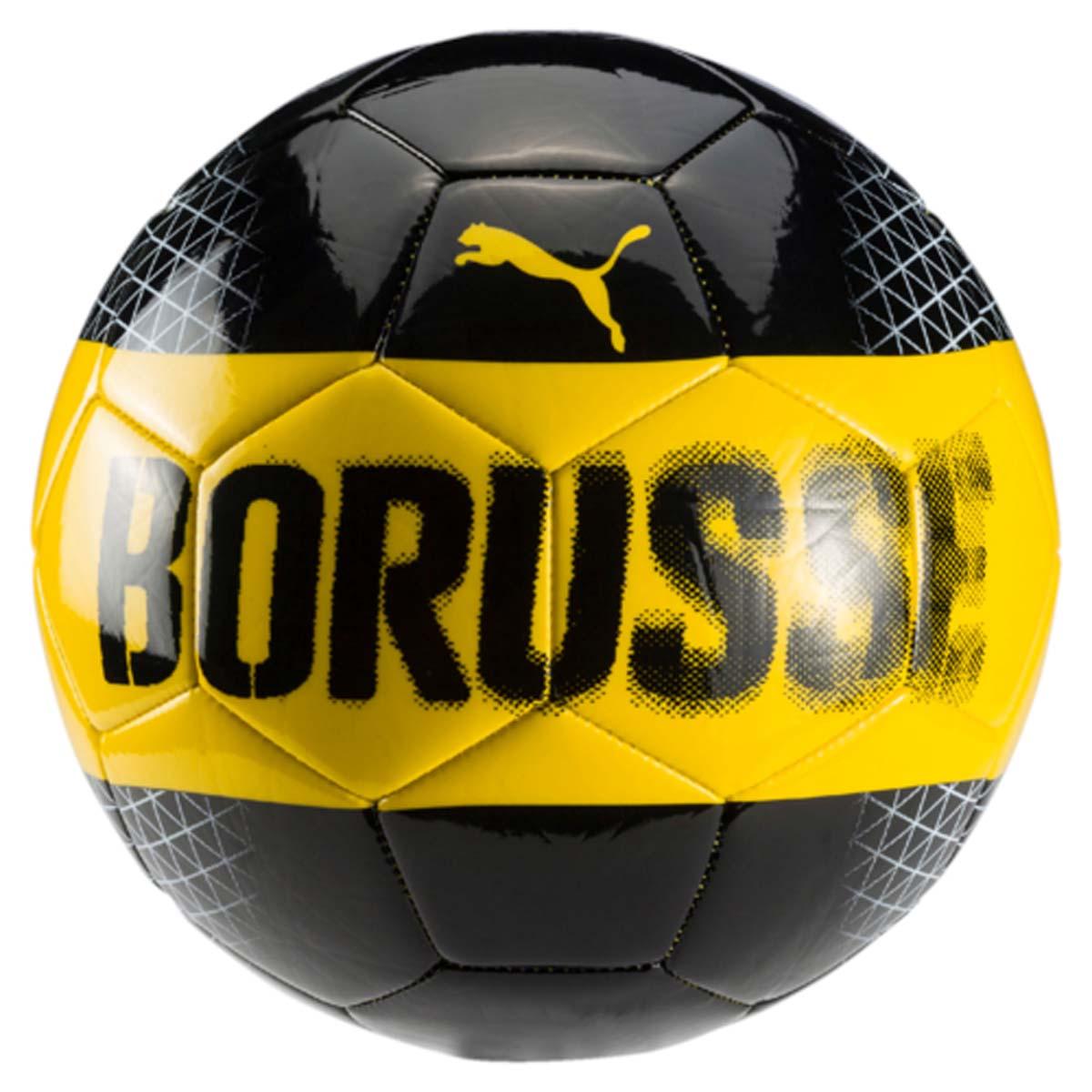 Мяч футбольный Puma Bvb Fan Ball, цвет: черный, желтый, Размер 5. 08274501231_002Высококачественный мяч Puma Bvb Fan Ball, созданный для всех любителей команды Borussia Dortmund, готовых поддерживать любимый клуб. Выполнен из мягкого термопластичного полиуретана, при этом настолько же хорош в игре, насколько хорошо выглядит.Мяч имеет оригинальный яркий дизайн и логотип компании Puma.