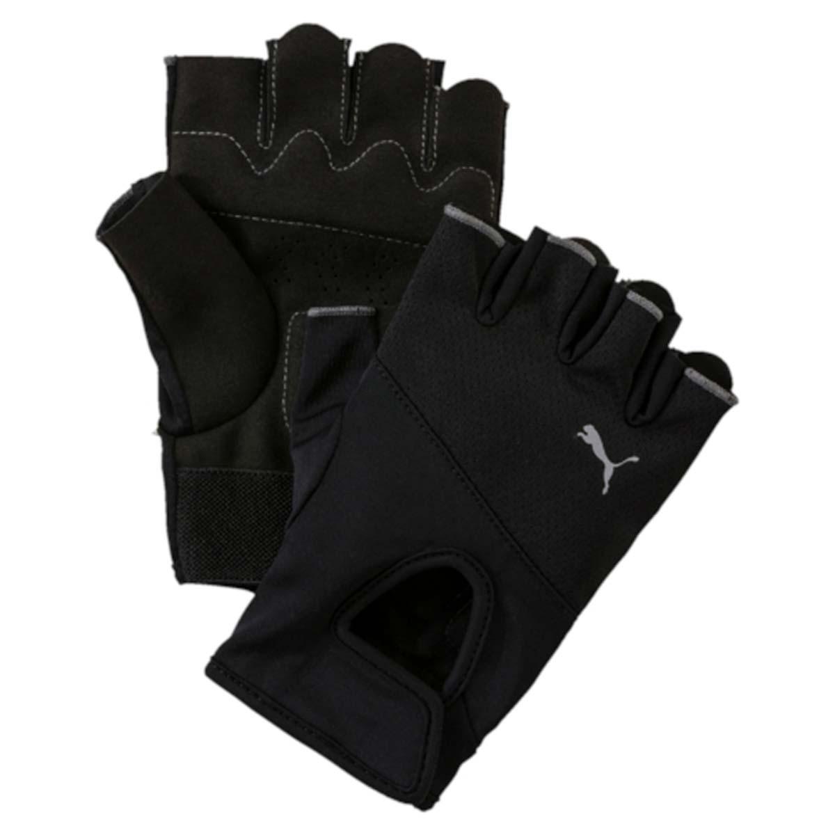 Перчатки для фитнеса Puma Tr Gloves, цвет: черный. 04129501. Размер L (10)14011008-1/37844/2912MПерчатки Puma Tr Gloves предназначены для защиты рук во время занятия спортом. Мягкий верх на основе современного высокотехнологичного полиэстера и нейлона оснащен уплотненными подушечками на ладони для максимального комфорта. У модели рукоятки из тесьмы со вставками для ладоней, нескользящие вставки для комфорта, долговечности и удобства захвата.Регулируемая застежка-липучка для оптимальной поддержки.