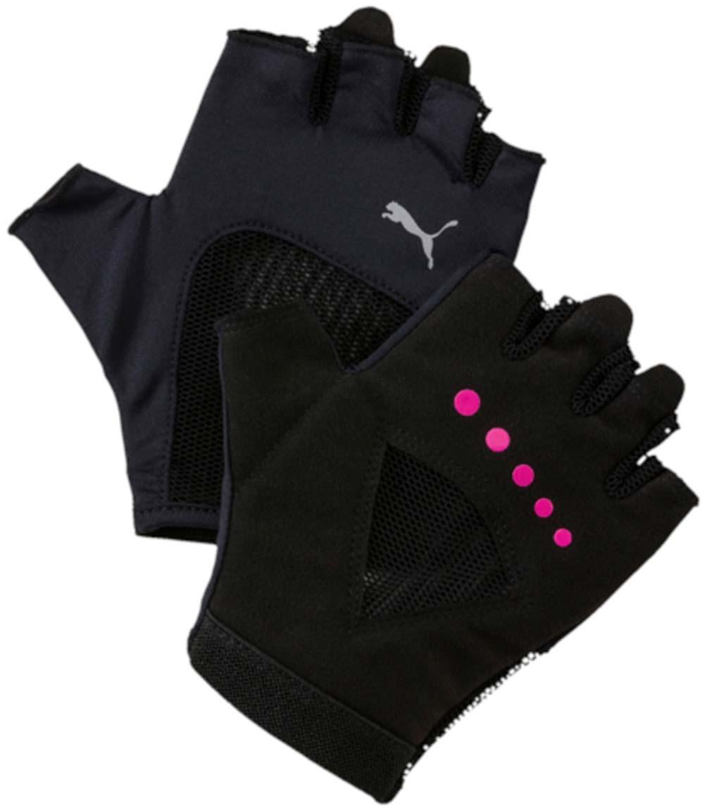 Перчатки для фитнеса женские Puma Gym Gloves, цвет: черный. 04126504. Размер M (9)04126504Удобные и прочные перчатки из мягкой замши с набивкой на ладони и большом пальце. Благодаря эластичной манжете перчатки удобно снимать и надевать. Эластичная сетчатая ткань на ладони обеспечивает хорошую посадку и вентиляцию. Силиконовый точечный принт улучшает сцепление. Цветной логотип Puma на тыльной стороне ладони.