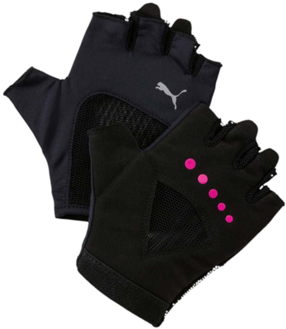 Перчатки для фитнеса женские Puma Gym Gloves, цвет: черный. 04126504. Размер S (8)0003954Удобные и прочные перчатки из мягкой замши с набивкой на ладони и большом пальце. Благодаря эластичной манжете перчатки удобно снимать и надевать. Эластичная сетчатая ткань на ладони обеспечивает хорошую посадку и вентиляцию. Силиконовый точечный принт улучшает сцепление. Цветной логотип Puma на тыльной стороне ладони.