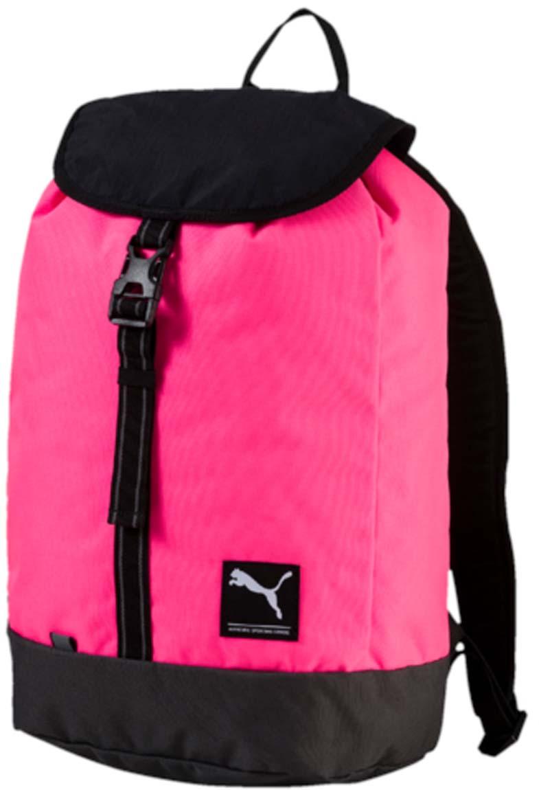 Рюкзак Puma Academy Female Backpack, цвет: розовый. 07447402S76245Рюкзак Pumaвыполнен из текстиля, закрывается на затягивающийся шнурок и клапан с фастексом. Модель с одним отделением, боковая сторона дополнена сетчатым карманом. Рюкзак оснащен регулируемыми по длине плечевыми лямками и петлей для подвешивания.