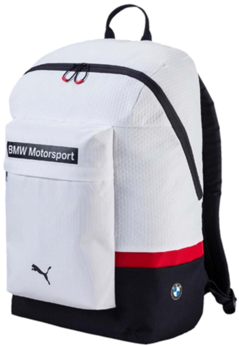 Рюкзак Puma Bmw Motorsport Backpack, цвет: белый. 07448601205065-001Рюкзак Pumaвыполнен из текстиля. Модель с одним отделением, спереди имеется карман на молнии. Рюкзак оснащен регулируемыми по длине плечевыми лямками и петлей для подвешивания.