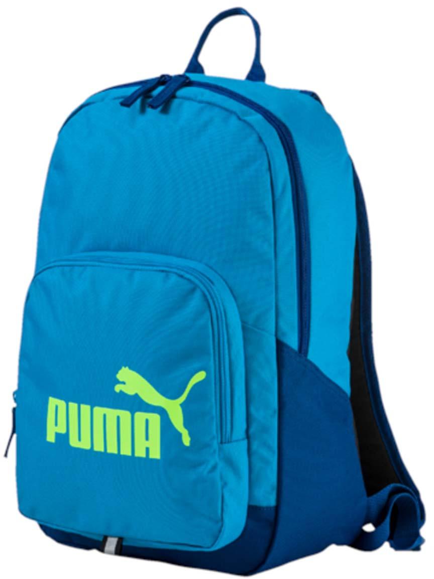 Рюкзак Puma Phase Backpack, цвет: голубой. 0735891423008Рюкзак Puma выполнен из текстиля. Модель с одним отделением. Передняя стенка оформлена объемным карманом на молнии. Рюкзак оснащен регулируемыми по длине плечевыми лямками и петлей для подвешивания.