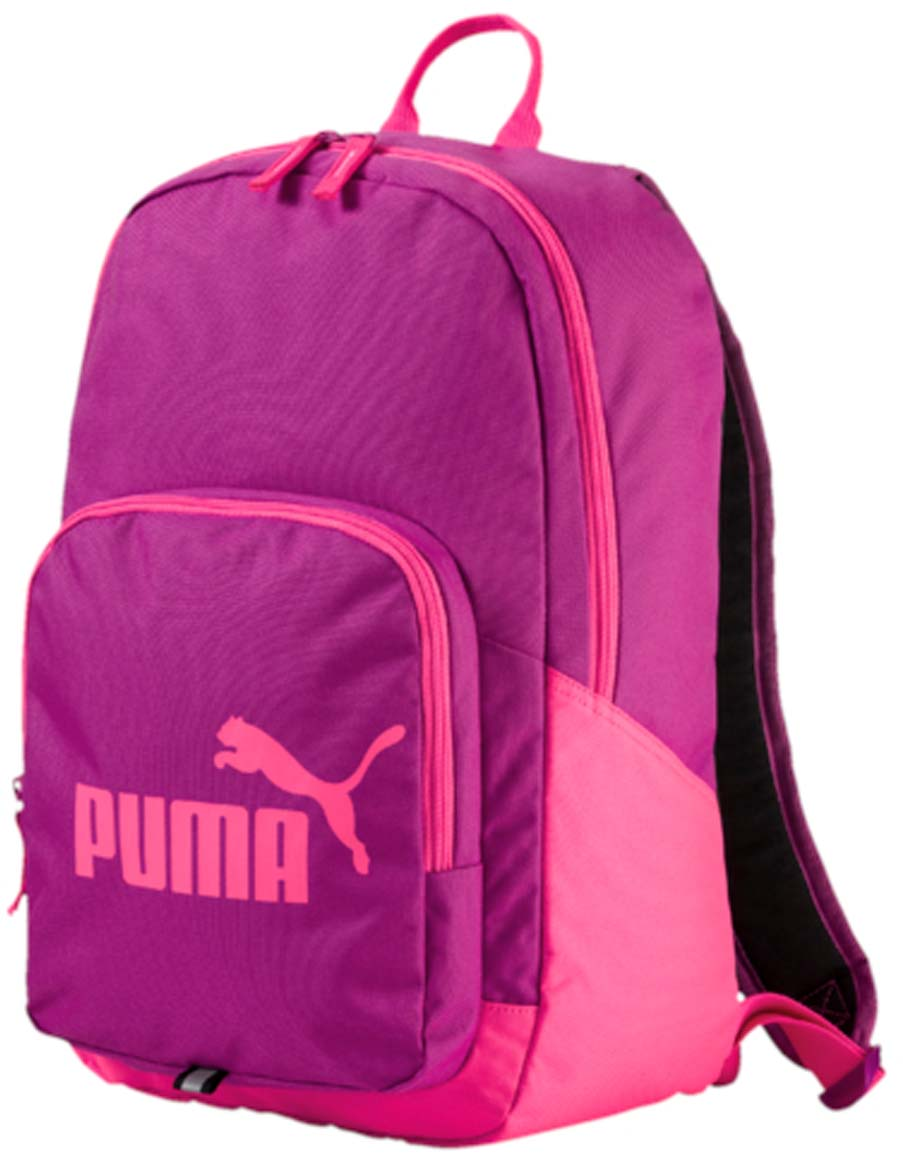 Рюкзак Puma Phase Backpack, цвет: розовый. 07358915101248Рюкзак Puma выполнен из текстиля. Модель с одним отделением. Передняя стенка оформлена объемным карманом на молнии. Рюкзак оснащен регулируемыми по длине плечевыми лямками и петлей для подвешивания.