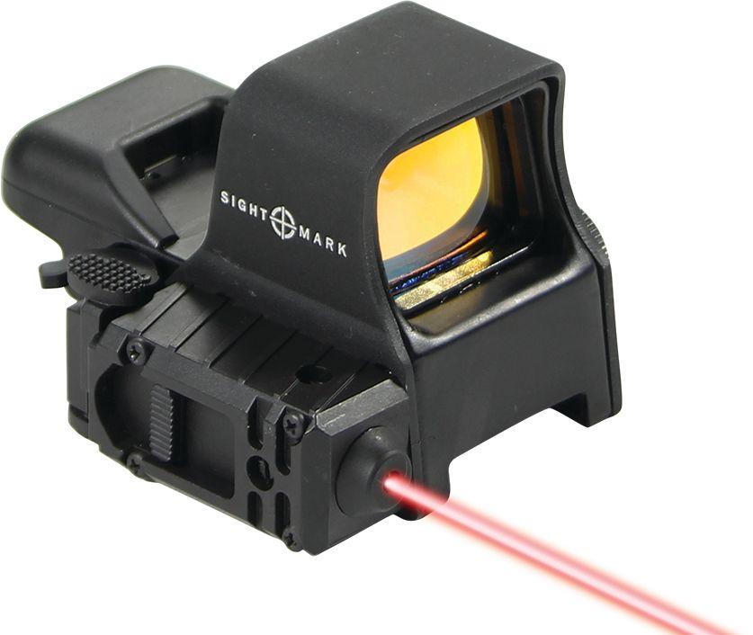 Прицел коллиматорный Sightmark, панорамный с ЛЦУ на Weaver, со сменной маркой, режим NVХот ШейперсКоллиматор Sightmark панорамный с ЛЦУ на Weaver, марка - сменная 4 вида, подсветка красная, режим NV. Арт. SM14003Компания Sightmark, США,Техас, Мэнсфилд впервые представила свою продукцию в 2007 году на SHOT Show. Основной целью компании является разработка и производство современной оптики и аксессуаров для охотников, спортсменов и стрелков. Кроме того, каждый продукт разработан для специализированного рынка, позволяя стрелкам получить больше высококачественных изделий для их огнестрельного оружия и пистолетов. Все коллиматорные прицелы Sightmark разработаны для ружей, винтовок и пистолетов.Коллиматорный прицел Sightmark SM14003 имеет интегрированное быстросъемное крепление на планку Weaver/Picatinny, позволяющее стрелку эффективно и быстро установить его на свое огнестрельное оружие. Оснащен возможностью работы с ночными монокулярами. Интегрирован с лазерным целеуказателем. Выносная кнопка позволяет удобно закрепить его на цевье и включать ЛЦУ при необходимости одним нажатием на кнопку.Имеет 4 типа прицельной марки, три режима яркости прицельной марки и два режима для NV. Переключение производится при помощи поворота барабанчика. Позиция 0 соответствует режиму Выкл. Режимы работы NV1, NV2 предназначены для работы с ПНВ. В этом случае прицельная марка визуально не видна и проявляется только при использовании ночного прицела. Диапазон NV1 используется при работе с ПНВ первого поколения, а NV2 при работе с ПНВ второго и третьего поколения. Позиции 1, 2, 3 используются при обычном дневном применении изделия с разными уровнями яркости сетки.Описание прицельных марок:1. Crosshair: точка – 3 МОА и круг – 50 МОА2. ТОЧКА: 5 МОА3. КРЕСТ С ТОЧКОЙ: точка – 3 МОА и крест 4. КРУГ С ТОЧКОЙ: точка – 3 МОА и круг 50 МОАПротивоударный и защищенный от непогоды. Все компоненты коллиматорного прицела, подверженные механическому воздействию, выполнены из нержавеющей стали и анодированных 