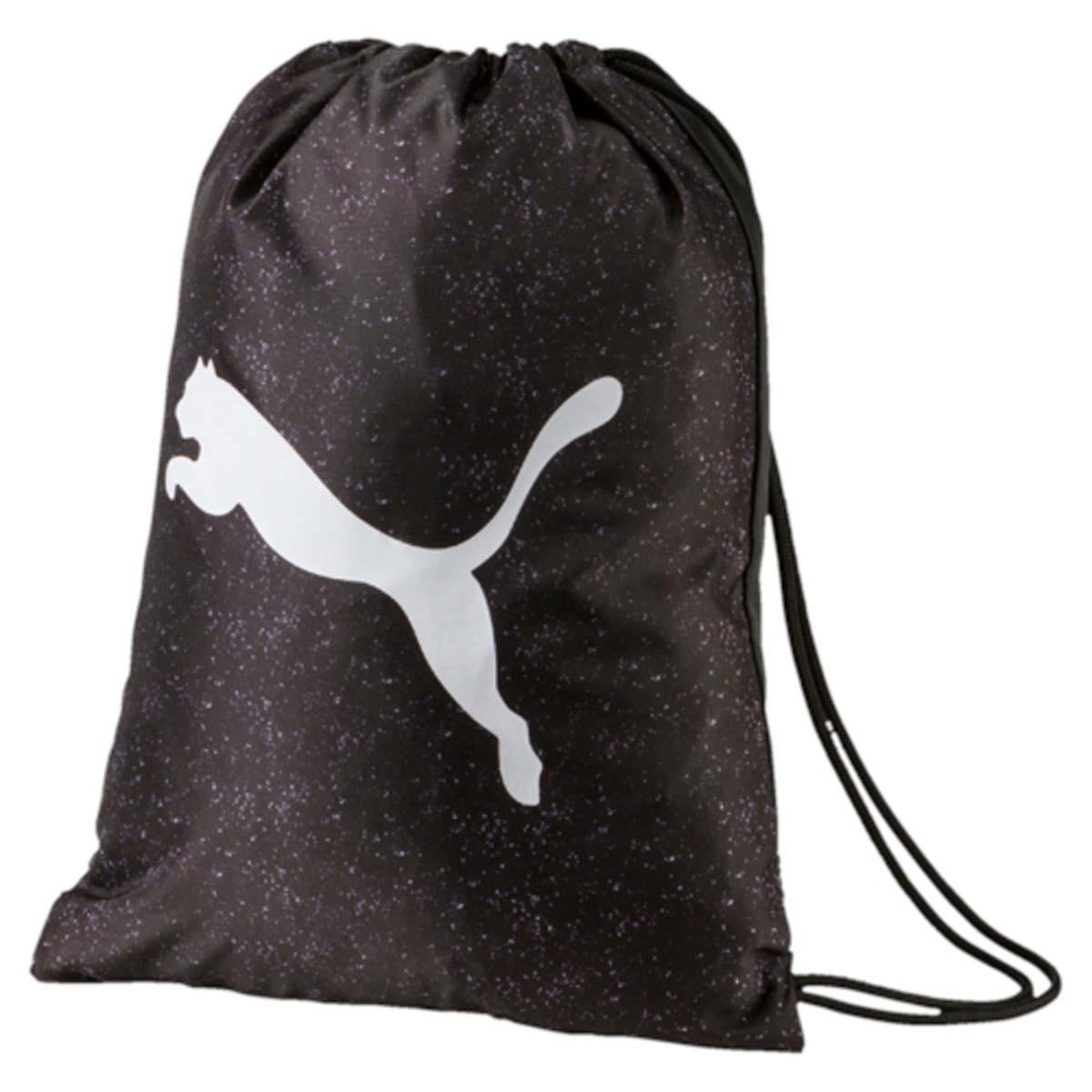 Рюкзак Puma Alpha Gym Sack, цвет: черный. 074407012582-1белыеСпортивный рюкзак Puma выполнен из текстиля. Модель с одним отделением на затягивающемся шнурке и тонких лямках.