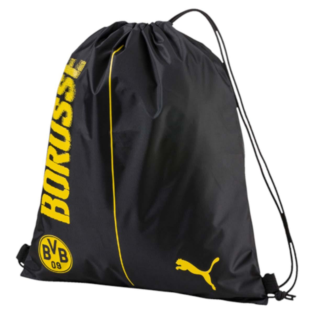 Рюкзак Puma Bvb Fanwear Gym Sack, цвет: черный. 07462301BM8434-58AEСпортивный рюкзак Puma выполнен из текстиля. Модель с одним отделением на затягивающемся шнурке и тонких лямках.