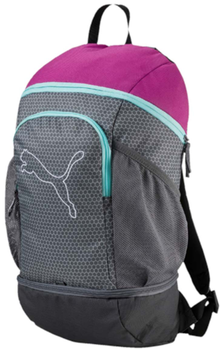 Рюкзак Puma Echo Backpack, цвет: серый. 07439603S76245Рюкзак Puma выполнен из текстиля. У модели одно основное отделение. Передний карман на молнии, боковые стороны дополнены сетчатыми карманами. Рюкзак с регулируемыми по длине плечевыми лямками и петлей для подвешивания.