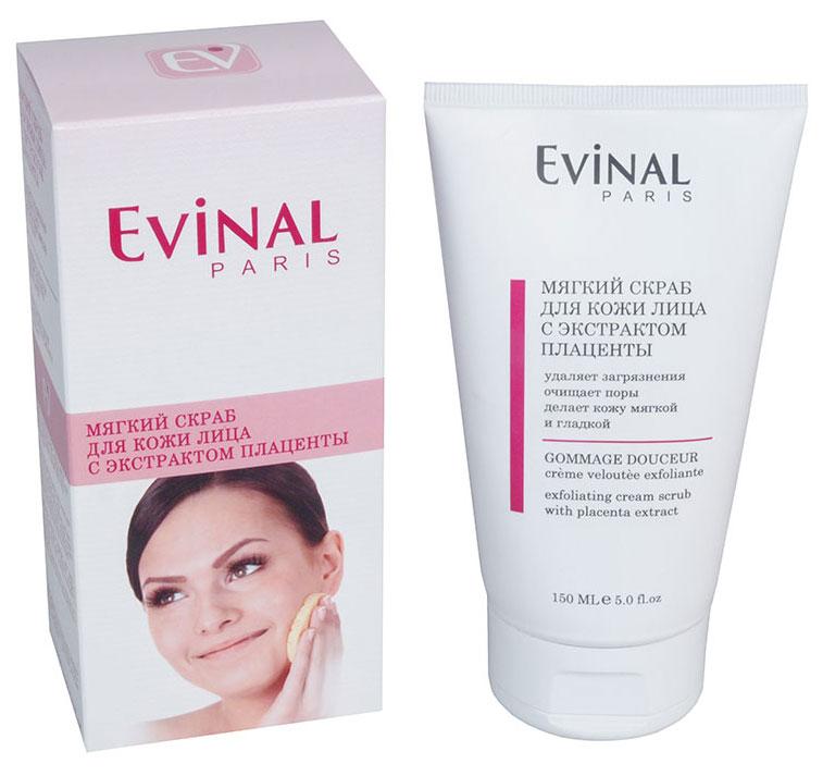 Скраб для кожи лица Evinal с экстрактом плаценты, 150 мл2620Нежный скраб Evinal удаляет загрязнения и отмершие клетки с поверхности кожи, не высушивая ее. Эффективно очищает поры, делая кожу мягкой, гладкой и естественно сияющей. Мягко отшелушивает мертвые клетки кожи, делает ее нежной и шелковистой, улучшает цвет лица. Характеристики: Объем: 150 мл. Производитель: Россия. Артикул: 0387. Товар сертифицирован.