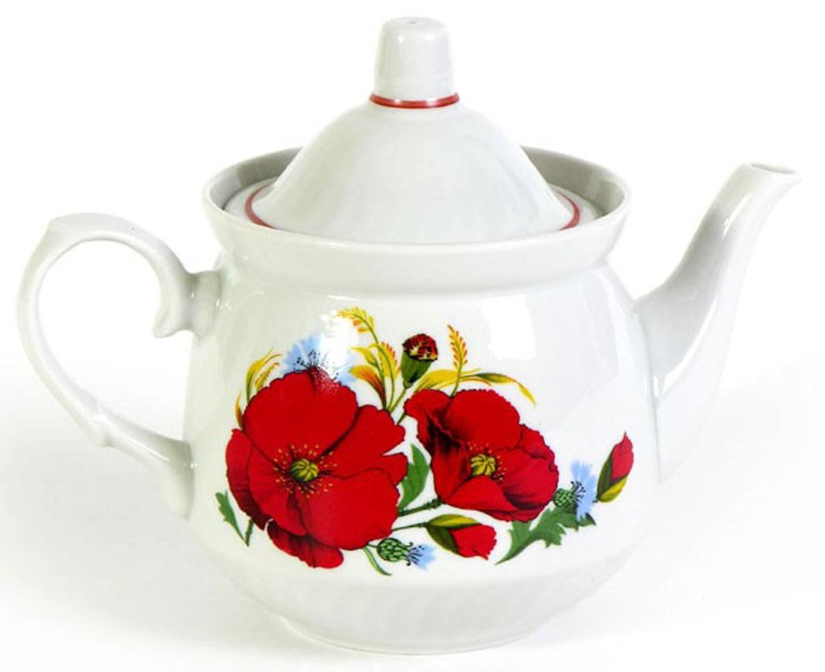 Чайник заварочный Кирмаш. Маки красные, 550 мл94672Заварочный чайник Кирмаш. Маки красные изготовлен из высококачественного фарфора. Посудаоформлена ярким рисунком. Такой чайник идеально подойдет для заваривания чая. Он хорошо держит температуру, что способствует более полному раскрытию цвета, аромата и вкуса чайного букета. Изделие прекрасно дополнит сервировку стола к чаепитию и станет его неизменным атрибутом.Объем: 550 мл. Диаметр (по верхнему краю): 9,6 см. Диаметр основания: 6,2 см.Высота чайника (без учета крышки): 10 см.