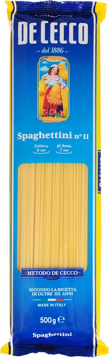 De Cecco паста спагеттини №11, 500 г0120710Знаменитый формат возник на юге Италии и в городах, где первоначально производились макаронные изделия: в Неаполе, Генуе и Лигурии.Спагетти имеют удлиненную форму и круглое сечение, диаметром от 1,92 мм до 2 мм.Спагетти можно подавать с горячим или холодным соусами из свежих или консервированных помидоров, овощей и зелени. Они также отлично сочетаются с соусами быстрого приготовления, как альо, ольо э пеперончино (из чеснока, оливкового масла и острого перца).