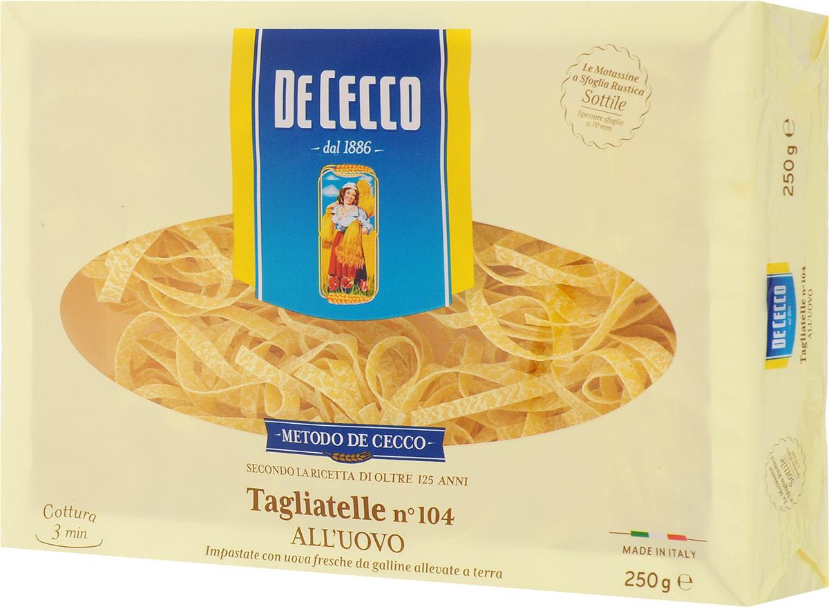 De Cecco паста тальятелле с добавлением яйца №104, 250 г0120710Тальятелле родом из Эмилия-Романья (Emilia), где являются частью гастрономической и кулинарной традиции. О происхождение пасты Тальятелле в регионе Эмилия, свидетельствует их частое упоминание в народных поговороках местного населения. Тальятелле достаточно универсальны в приготовлении, могут подаваться как разные блюда и сочетаться с разными видами соусов и приправ. Отлично сочетаются с такими ингредиентами, как рыба, моллюски, сливочное масло. Так же хорошо сочетаются с белыми соусами из мягких сыров и сливок с добавлением карри и шафрана.