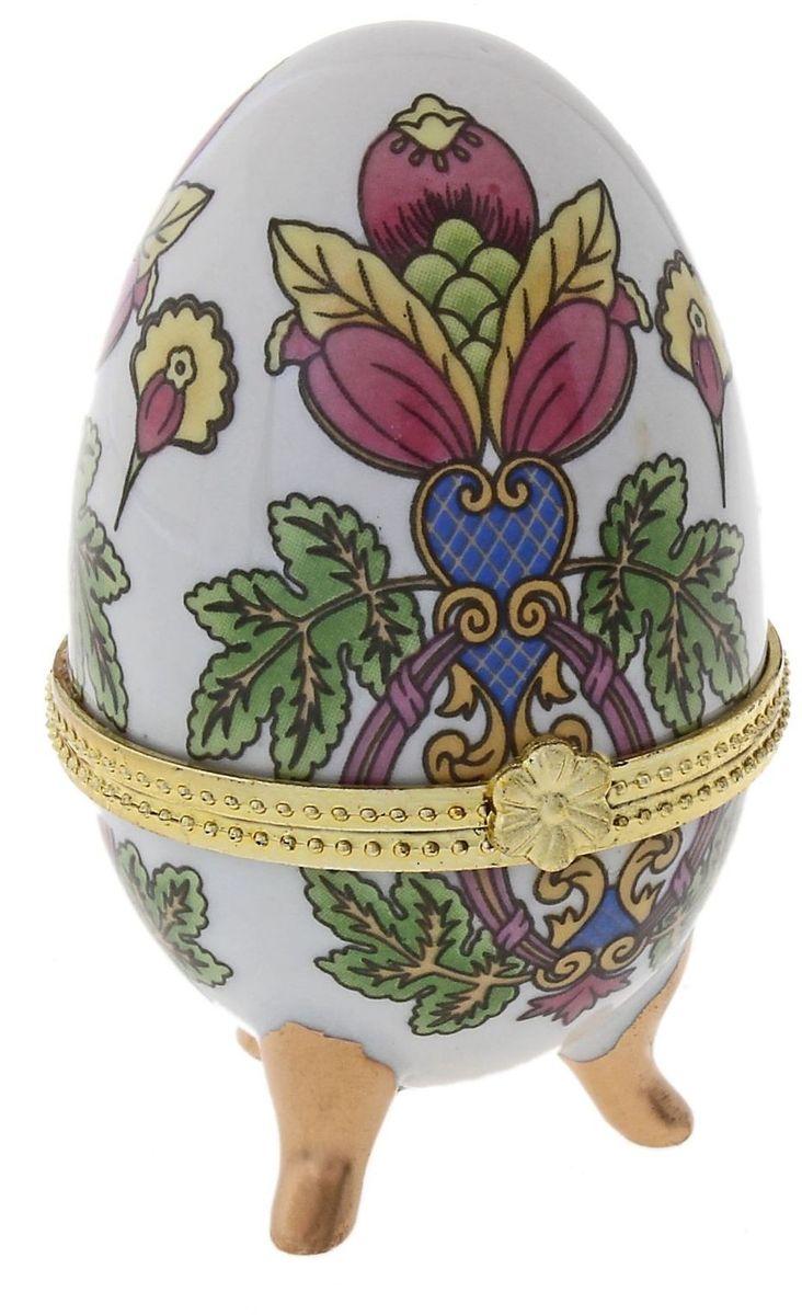 Шкатулка Sima-land Райский цветок, 4,5 х 4,5 х 7,5 смБрелок для ключейПасхальное яйцо — символ жизни и возрождения, ведь именно в Пасху традиционно дарят крашеные или расписные яйца. А в такую забавную шкатулочку можно положить одно из таких яиц и преподнести своему самому родному и близкому человеку, такой презент никогда не забудется, и будет отличаться от других поздравлений.