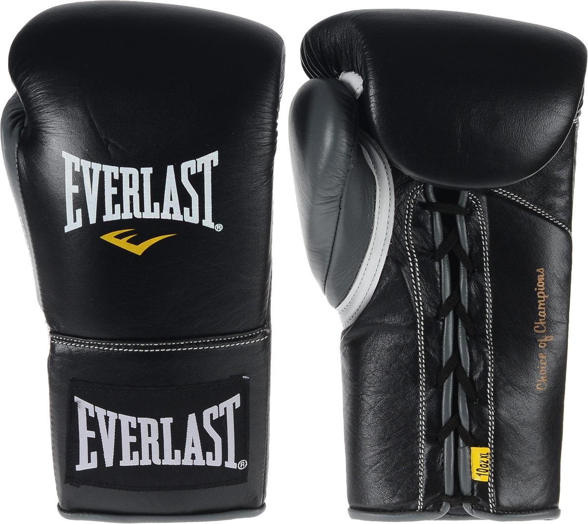 Перчатки боевые Everlast Powerlock, цвет: черный, серый. Вес 10 унций. Размер XLBGG-2018Боевые перчатки на шнуровке Everlast Powerlock изготавливаются из натуральной кожи премиум класса, выдерживающей длительные нагрузки. Благодаря пенному наполнителю, выложенному по технологии Powerlock, обеспечивается идеальный баланс между силой удара и защитой от травм. Эргономический дизайн перчатки позволяет руке принимать правильную и удобную форму кулака, делая удар быстрым и безопасным одновременно. Предназначены для профессиональных боев.