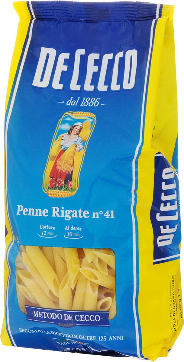 De Cecco паста пенне ригате №41, 500 г24Это разновидность пасты пенне, относится к семейству короткой пасты, с косыми (по диагонали) срезами и ребристой поверхностью. Их диаметр примерно 8 мм, длина - 39 мм и толщина от 1,22 мм до 1,28 мм.Паста прекрасно подходит для приготовления запеканок, с соусом из свинины, говядины или на основе таких овощей, как кабачки, сладкий перец и артишоки.