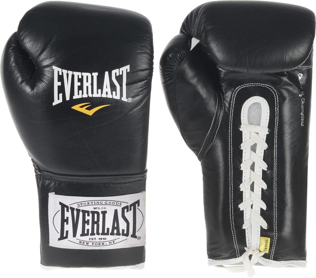 Перчатки боевые Everlast 1910 Fight, цвет: черный, белый. Вес 10 унций. 291001PG-2045Классическая модель перчаток Everlast 1910 Fight создана специально для поединков на профессиональном ринге с учетом всех регламентов и требований, предъявляемых к такой экипировке. Выполнены из натуральной кожи. Набивка из многослойного пенного наполнителя обеспечивает достаточно высокий уровень защиты рук спортсмена и снижает жесткость перчаток. Удобное положение руки в перчатке не требует усилий для сжатия кулака, что позволит вам наносить более жесткие удары при меньших энергозатратах. Данные перчатки прошли сертификацию и получили одобрение к использованию от всех американских и Международных боксерских организаций и федераций включая WBC, IBO, WBA, WBO и IBF.